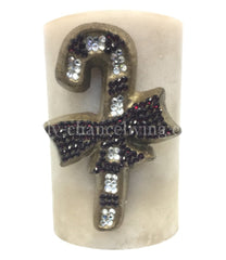 Christmas Candle Swarovski Jeweled Candy Cane 4x6