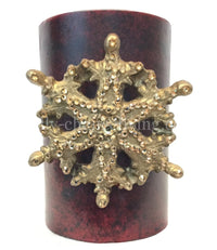 Christmas Candle Swarovski Jeweled Snowflake 4x6