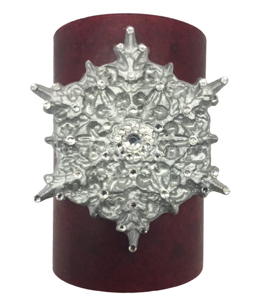 Christmas Candle 'Frost' Swarovski Jeweled Snowflake 4x6