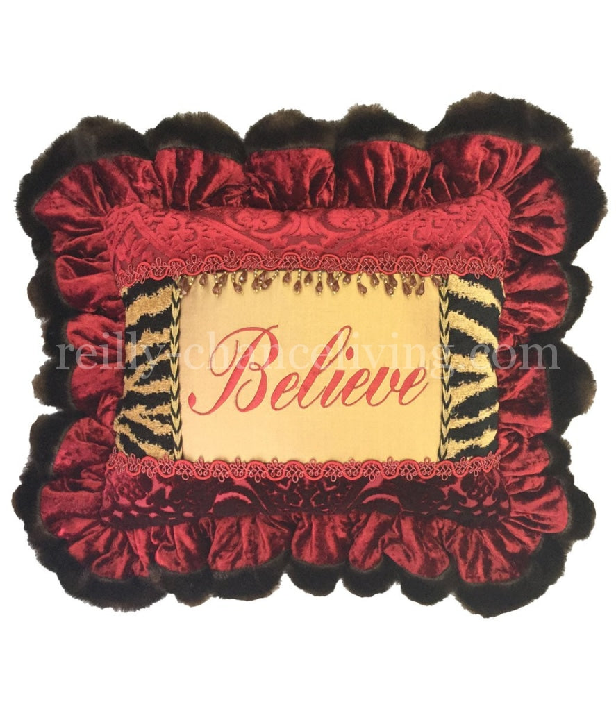 Christmas Pillow Believe Ruffled 18X14 (Not Incl. Ruffle) Holiday Pillows
