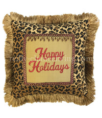 Happy Holidays Leopard Print Christmas Pillow
