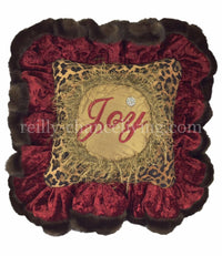 Christmas Pillow Joy Leopard Print Ruffled 12x12 (not incl.ruffle)