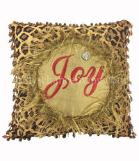 Christmas Pillow Joy Leopard Print with Beads 13x13