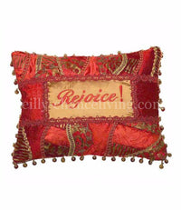 Christmas Pillow Rejoice! Red and Gold 18x13