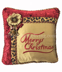 Merry Christmas Pillow Red Velvet/Gold Silk with Flower