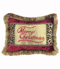 Merry Christmas  Pillow Animal Print/Red Velvet 18x13