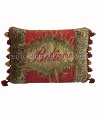 Christmas Pillow Believe Cheetah and Red Silk 18x13