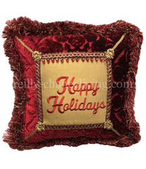 Happy Holiday Jeweled Christmas Pillow Pillows