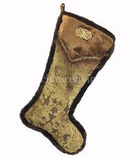 Christmas Stocking Bronze Gold Cut Velvet Beaded Tassel