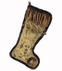 Christmas Stocking Bronze Gold Cut Velvet Beads