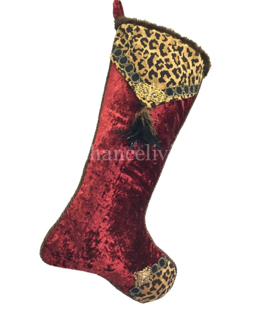 Christmas Stocking Leopard Print And Red Velvet Reilly Chance