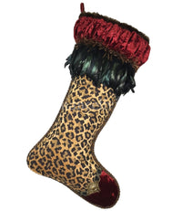 Christmas Stocking Red Velvet Leopard Print Beads and Feathers