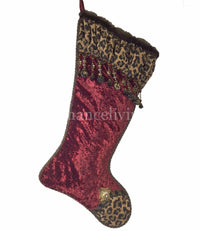 Christmas Stocking Red Velvet Leopard Print with Beads