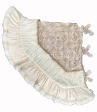 Christmas Tree Skirt Cream Ribbon Rose and Faux Cream Mink