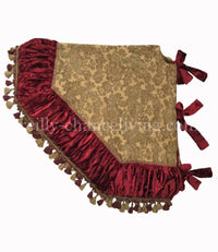 Christmas Tree Skirt Gold Chenille,Red Velvet and Tassel Fringe 72