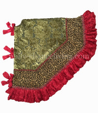 Christmas Tree Skirt Green Velvet Leopard Print with Red Ruffle