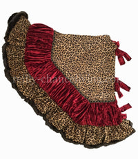 Old World Christmas Tree Skirt Leopard Print Red Velvet Faux Mink
