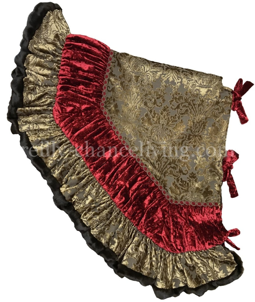 Old World Style Christmas Tree Skirt Damask Velvet Skirts
