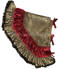 Old World Style Christmas Tree Skirt Damask Velvet