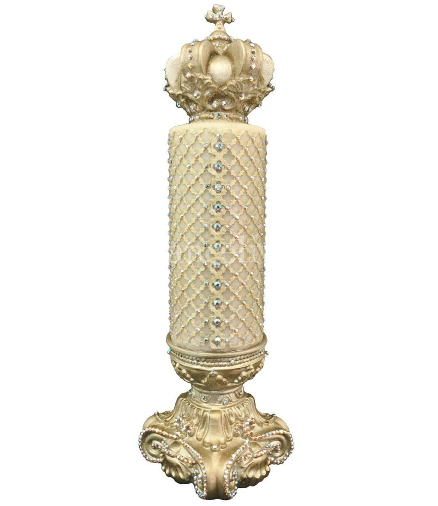Decorative Candle 4X9 Jeweled Mesh/jeweled 4X6 Base/ Crown Topper Candle/base Combination