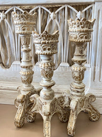 Crown Top Candle Holders Cream and Gold
