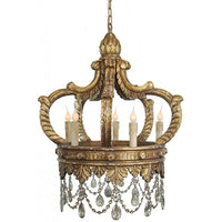 Hand Carved Wood Crown Chandelier
