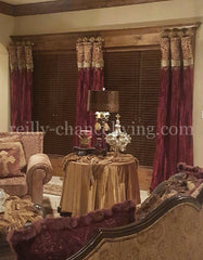 Luxury Curtain Panel Burgundy Velvet Style #7 With Band Majesty Collection Window Treatment