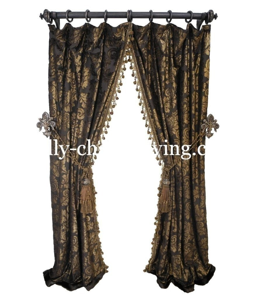Luxury Curtain Panel Chocolate Velvet With Beaded Tassel Fringe Reilly Chance Collection