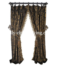 Luxury Curtain Panel Chocolate Velvet with beaded tassel fringe