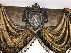 Cornice Board With Swags And Decorative Curtain Panels *available In Any Of Our Fabrics Window