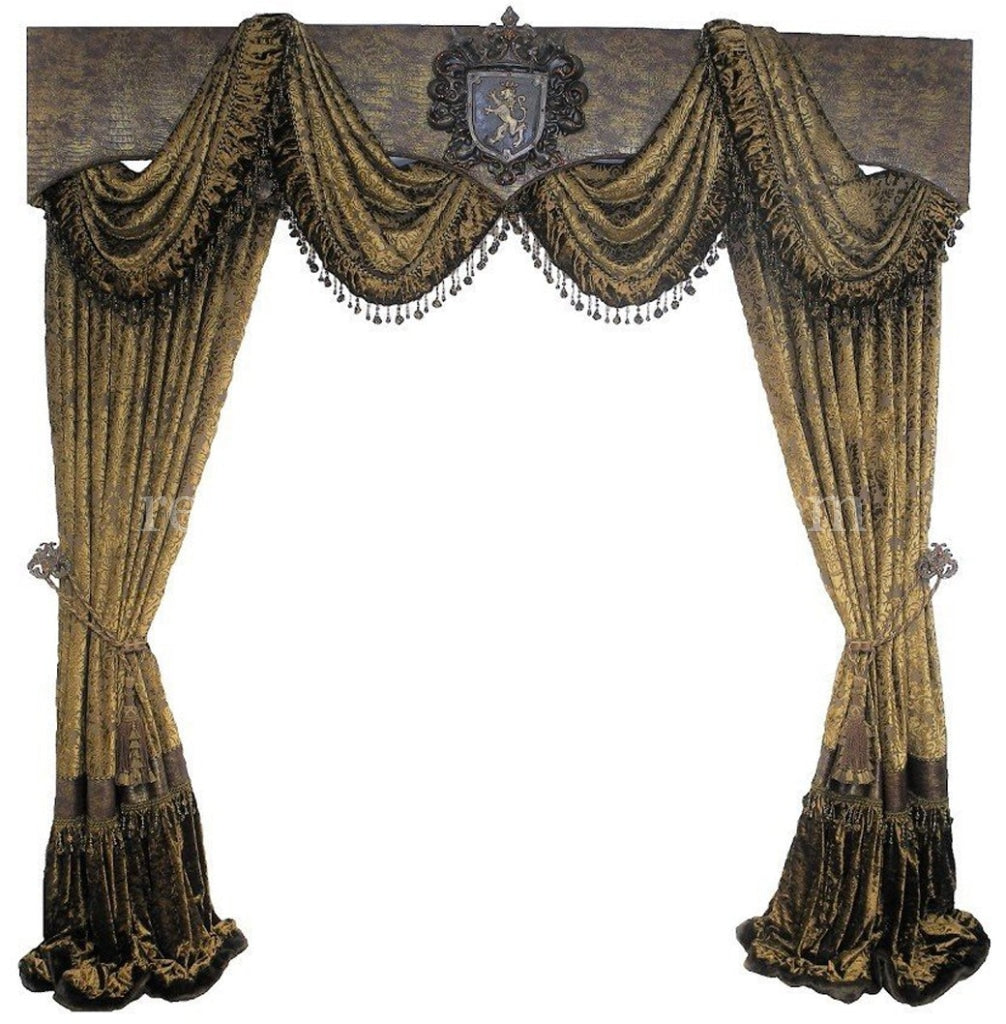 Cornice Board with Swags and Decorative Curtain Panels *Available in ANY of  our Fabrics
