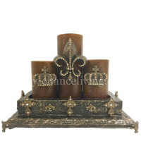 Old World Style Candle Box with set of 3 Candles