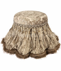 Decorative_Foot_stool-Vanity_stool-neutral_foot_stool-old_world_decor-taupe_chenille-silk-faux_fur-Venetian-reilly_chance_collection