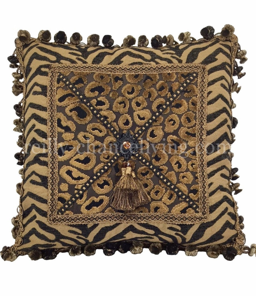 Decorative_accent_pillow-bronze-black-tiger-leopard_print-tassel-fringe-reilly_chance_collection_grande