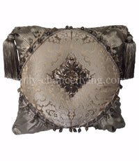 Luxury Pillow Gray Damask Swarovski Medallion 19x19