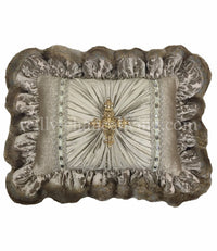 Decorative Accent Pillow Taupe Ruffled Rectangle Jeweled Cross 19x14