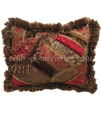 Decorative Pillow Pieced Rectangle Red and Brown 18x13