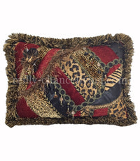 Animal & Red Pieced Rectangle Accent Pillow 17X13