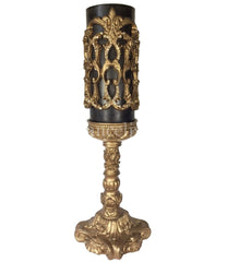 Decorative_brown_candle-4x9-roasted__chestnut-gold_jeweled_firescreen-gold_12_inch_candle_base-sir_olivers-reilly_chance_collection_grande