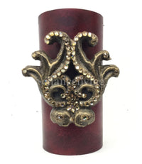 Decorative Candle 3x6 with Small Jeweled Scroll Medallion