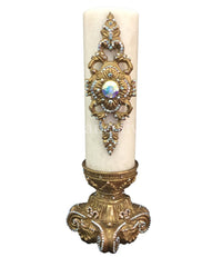 Decorative Candle 4x12 Jeweled Scroll Medallion on 4x6 Jeweled Candle Base