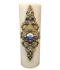 Decorative Candle 4x12 Jeweled Scroll Medallion