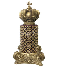 Decorative Candle 4x6 Jeweled Mesh and Candle Base with Crown Topper