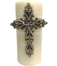 Decorative Candle 4x9 Jeweled Scroll Cross
