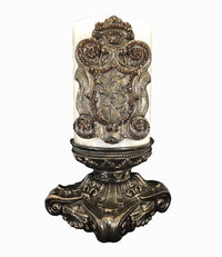 Decorative 6x6 Candle Base and Candle with Jeweled Lion Shield