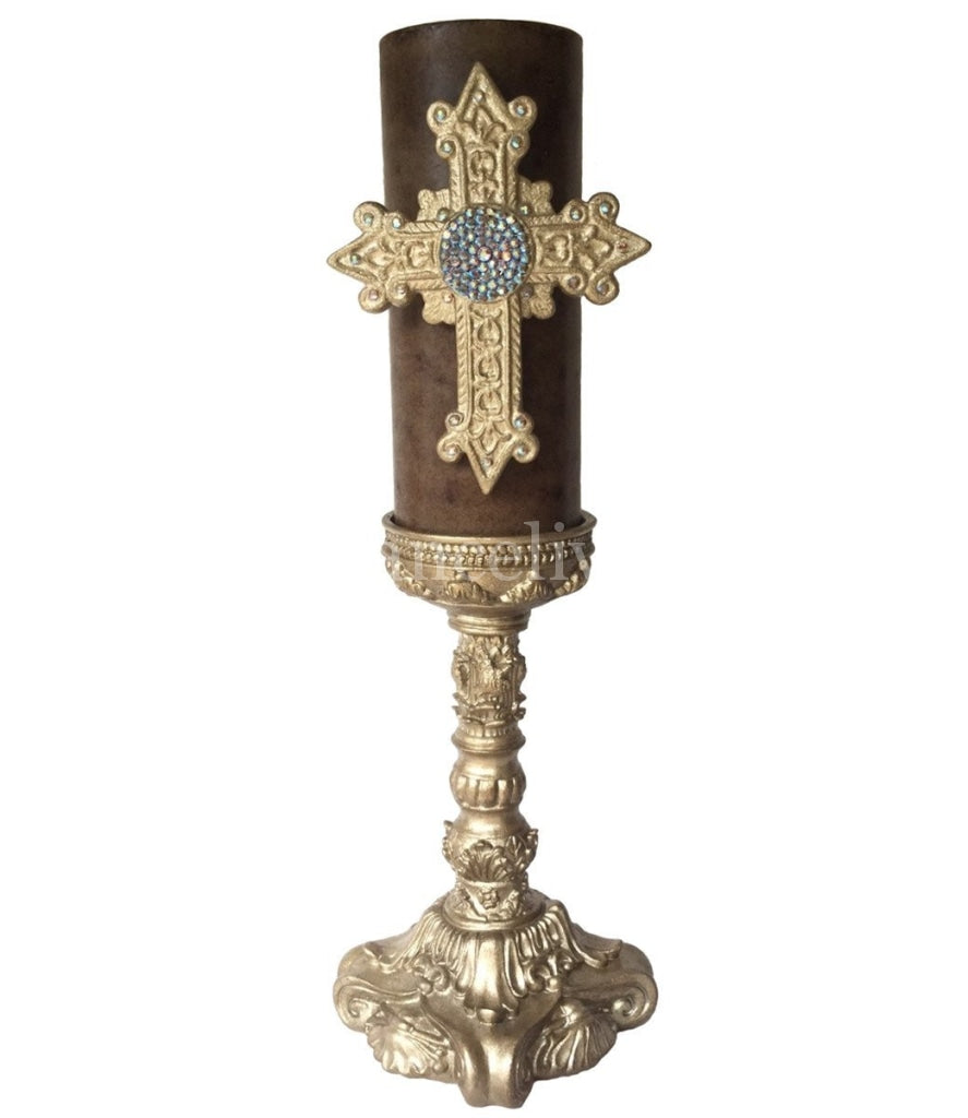 Decorative_candle-triple_scented-light_brown-4x9-fresh_linen-champagne_jeweled_cross-champagne_12_inch_candle_base-sir_olivers-reilly_chance_collection_grande