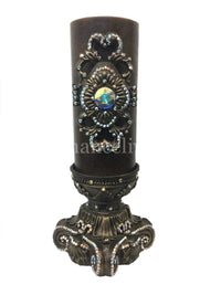 Decorative Candle 4x9 Jeweled Scroll Medallion 4x6 Jeweled Candle Base