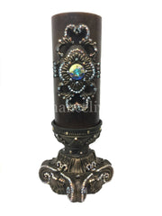 Decorative Candle 4X9 Jeweled Scroll Medallion 4X6 Base Candle/base Combination