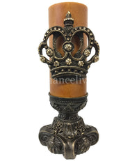 Decorative Candle 4x9 Large Jeweled Crown with 4x6 candle base