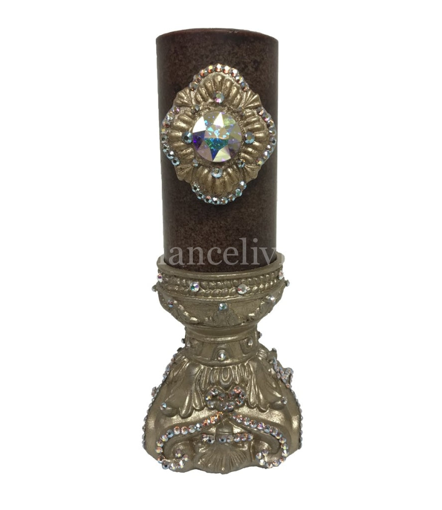 Decorative Candle 3X6 With Jeweled Medallion And Base Candle/base Combination